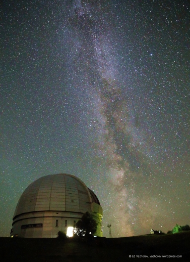 Летний треугольник и Млечный путь над БТА. Summer triangle and Milky Way over BTA. Canon 6D, Samyang 14/2.8, 30s, ISO6400 16.08.2017 САО, Карачаево-Черкессия