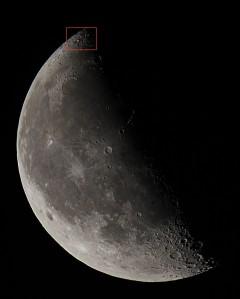 """Интересное оптическое образование на Луне - """"Лунная царапина""""."""