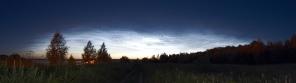 Панорама серебристых облаков над Чебоксарской ГЭС.