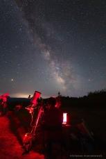 Астрофотограф за работой. Canon 6D, Samyang 14/2.8, 30s, ISO 6400. Крым, Южные ночи-2018, КРАО, июнь 2018.
