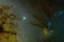 Rho Ophiuchi - самая цветная область неба и Юпитер.